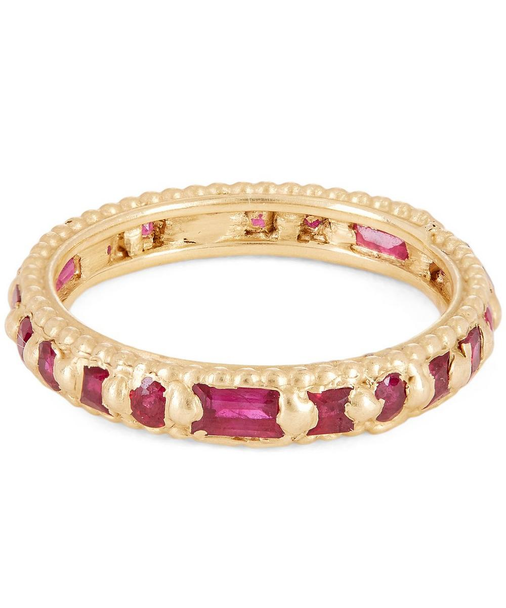 POLLY WALES GOLD RAMONA RAPUNZEL MIXED-CUT RUBY RING