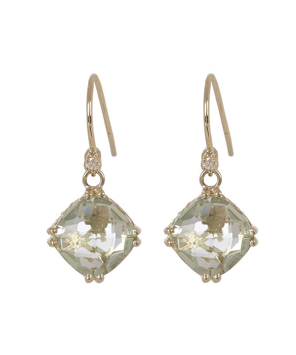 Gold Green Amethyst Diamond Drop Earrings