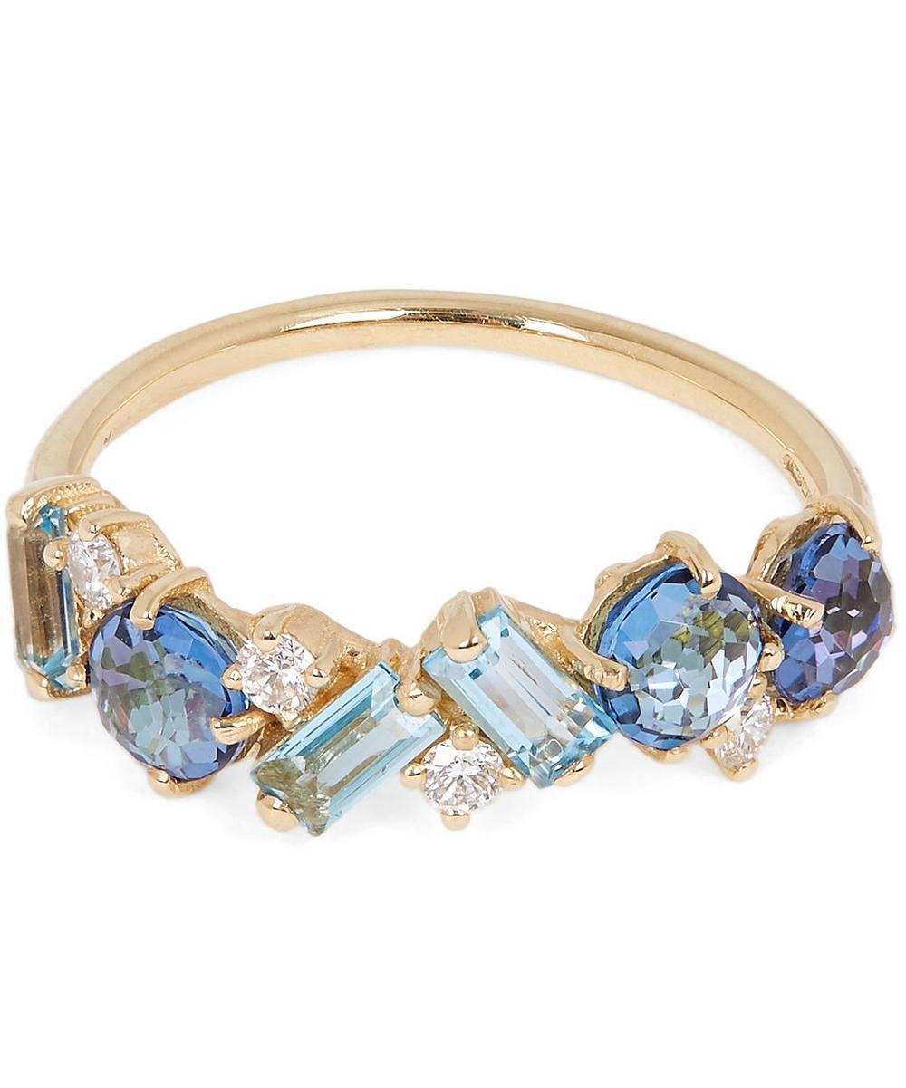 Gold Blue Topaz Diamond Ring