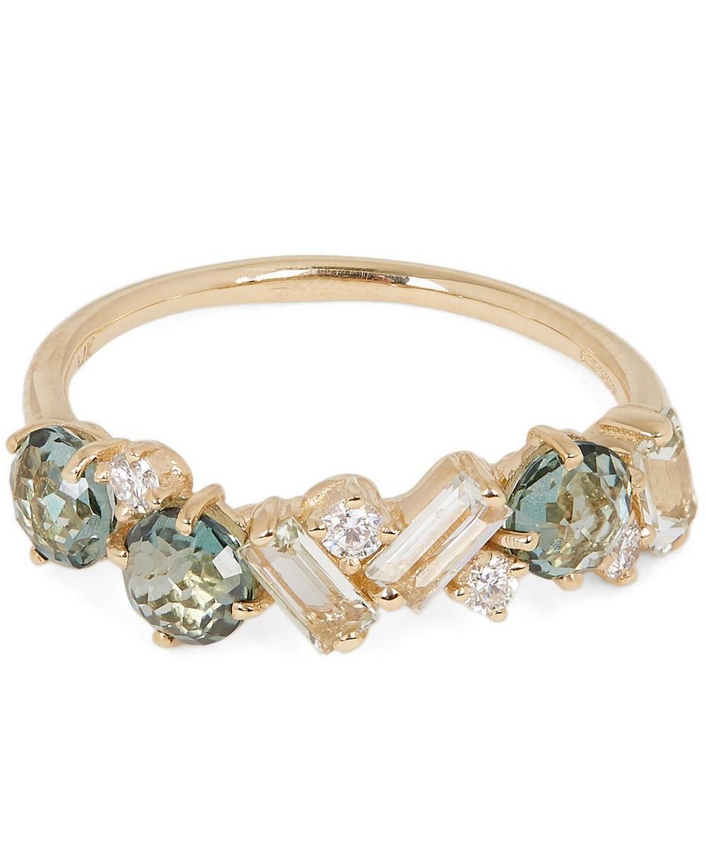 Gold Green Envy Topaz Green Amethyst and Diamond Ring