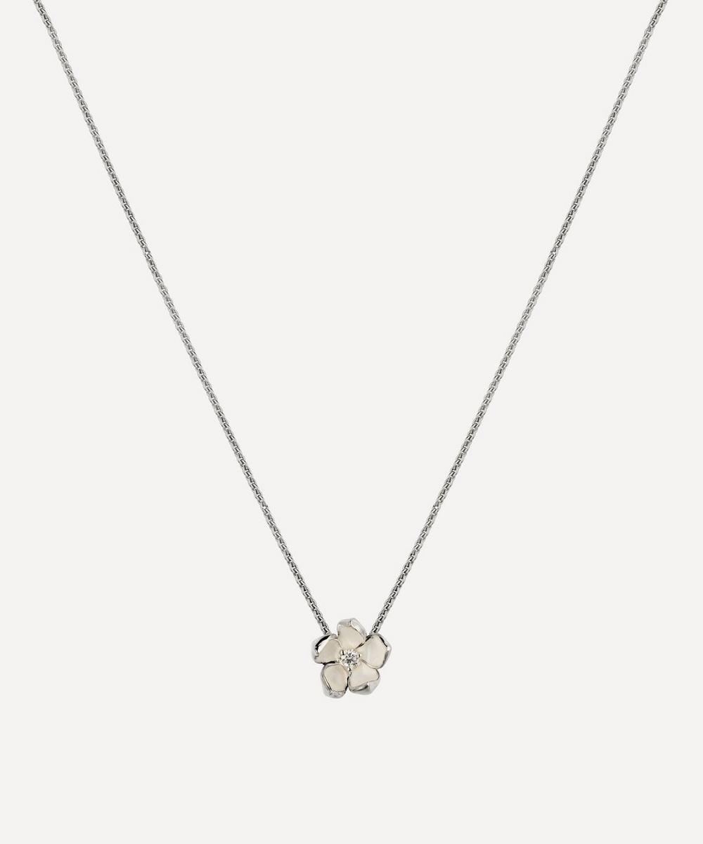 SHAUN LEANE SILVER AND DIAMOND CHERRY BLOSSOM PENDANT NECKLACE
