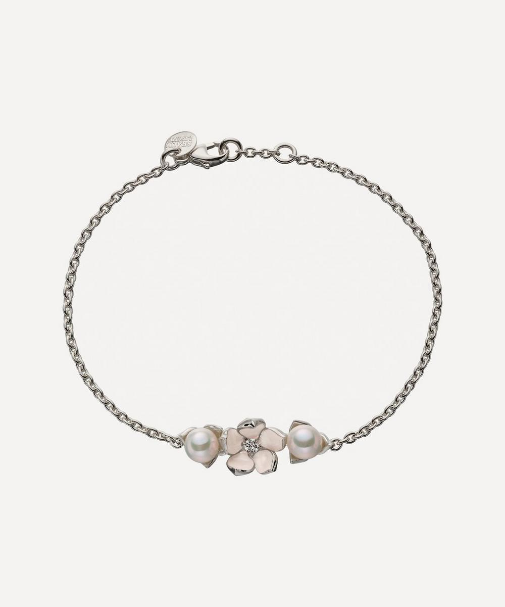 SHAUN LEANE SILVER DIAMOND SINGLE CHERRY BLOSSOM BRACELET