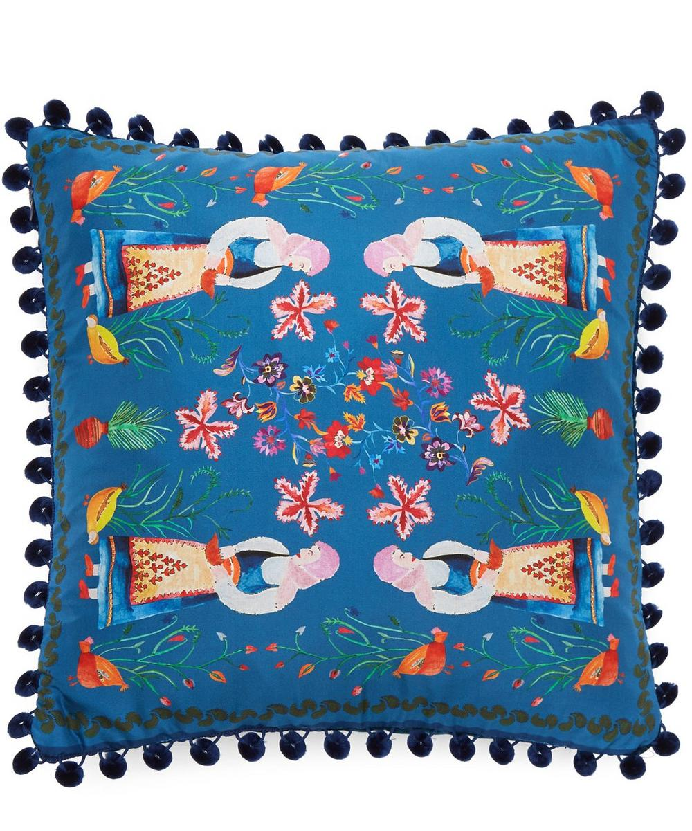 Small Melina Silk Pom Pom Cushion