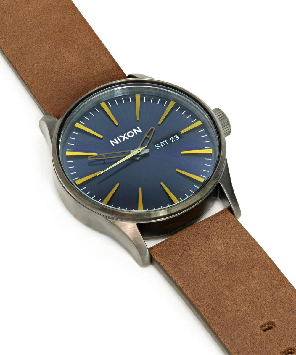 Sentry Leather Gunmetal Watch