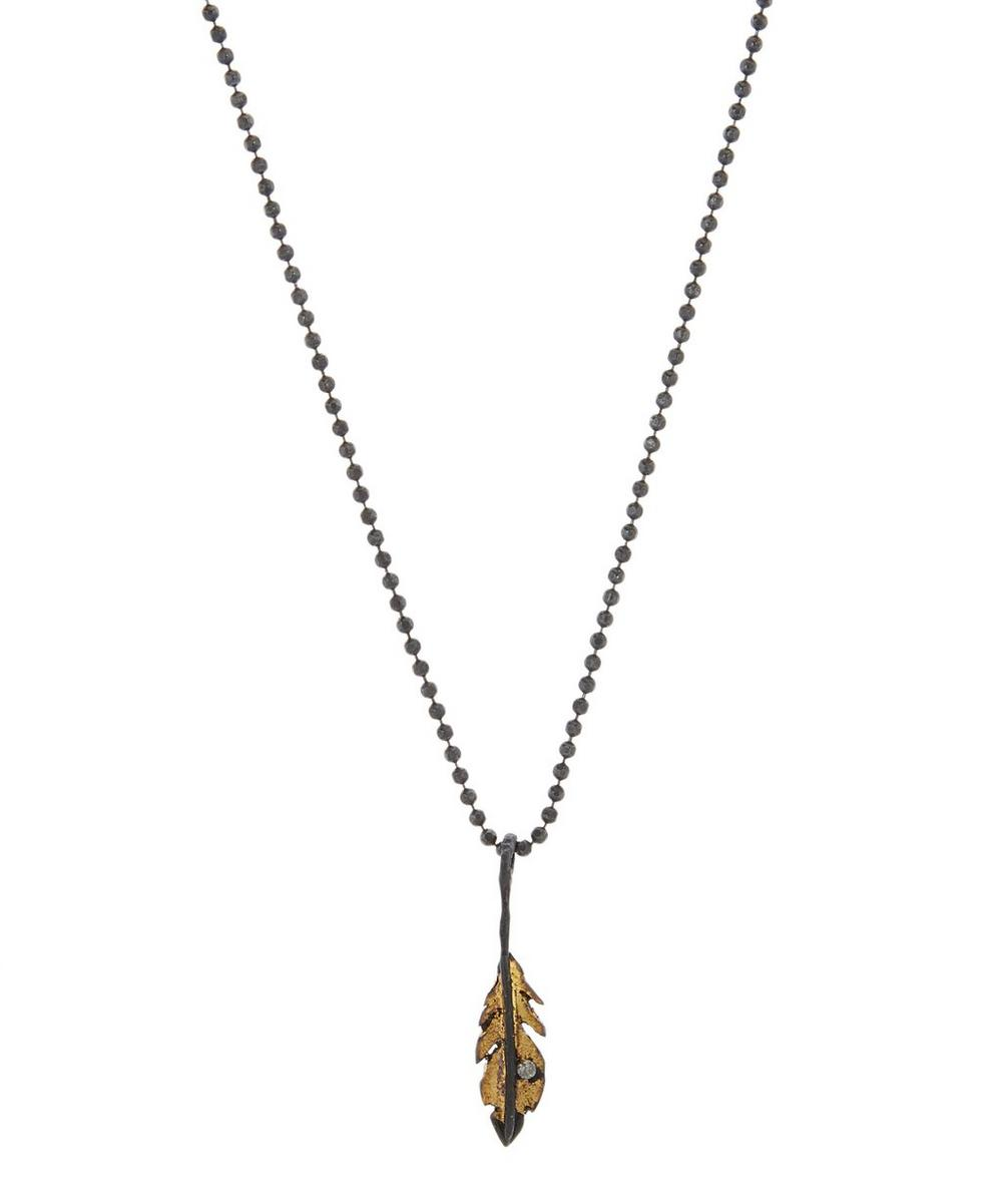 ACANTHUS Oxidised Silver Tiny Feather Diamond Necklace