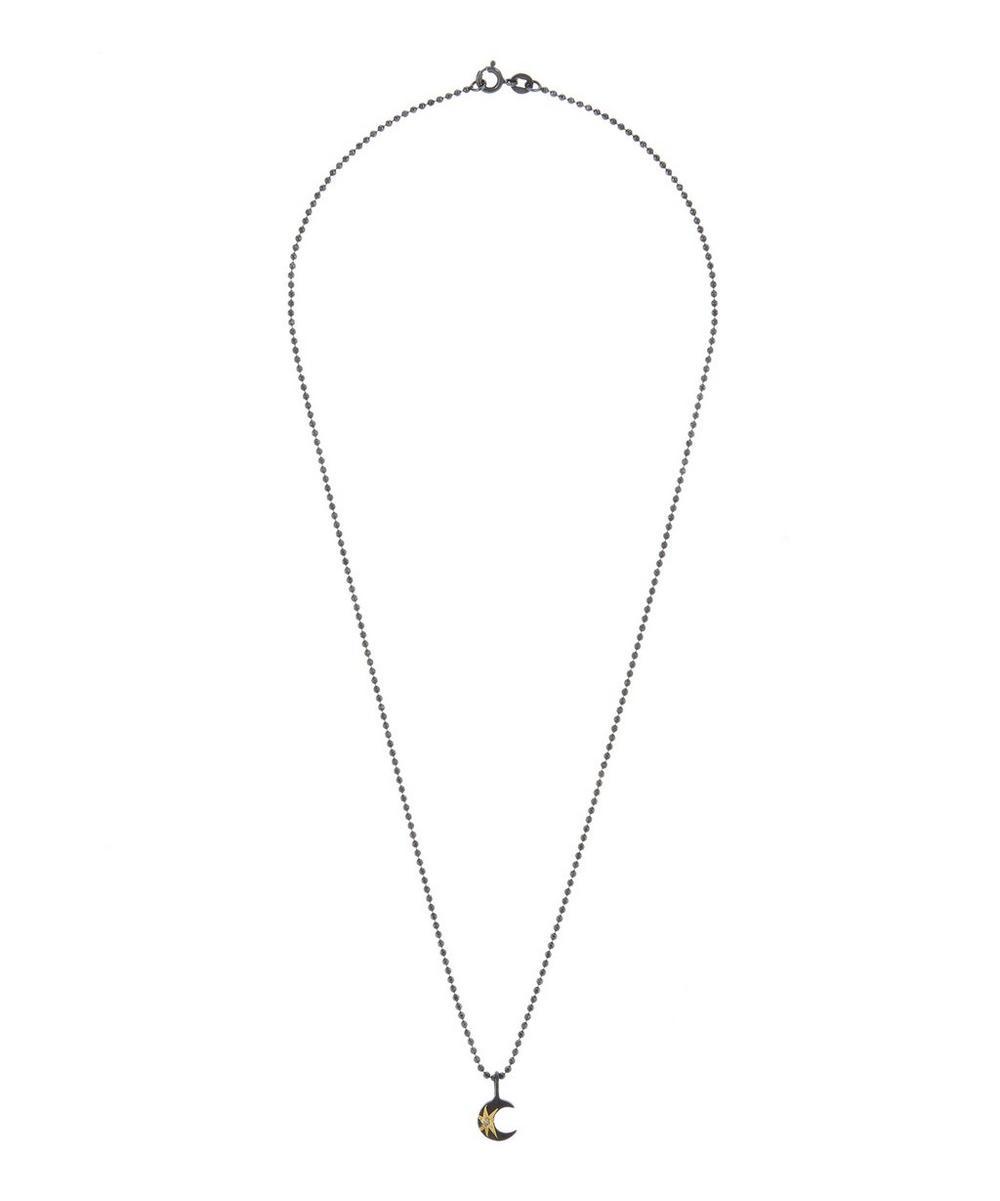 Oxidised Silver Tiny Celestial Star Moon Diamond Necklace