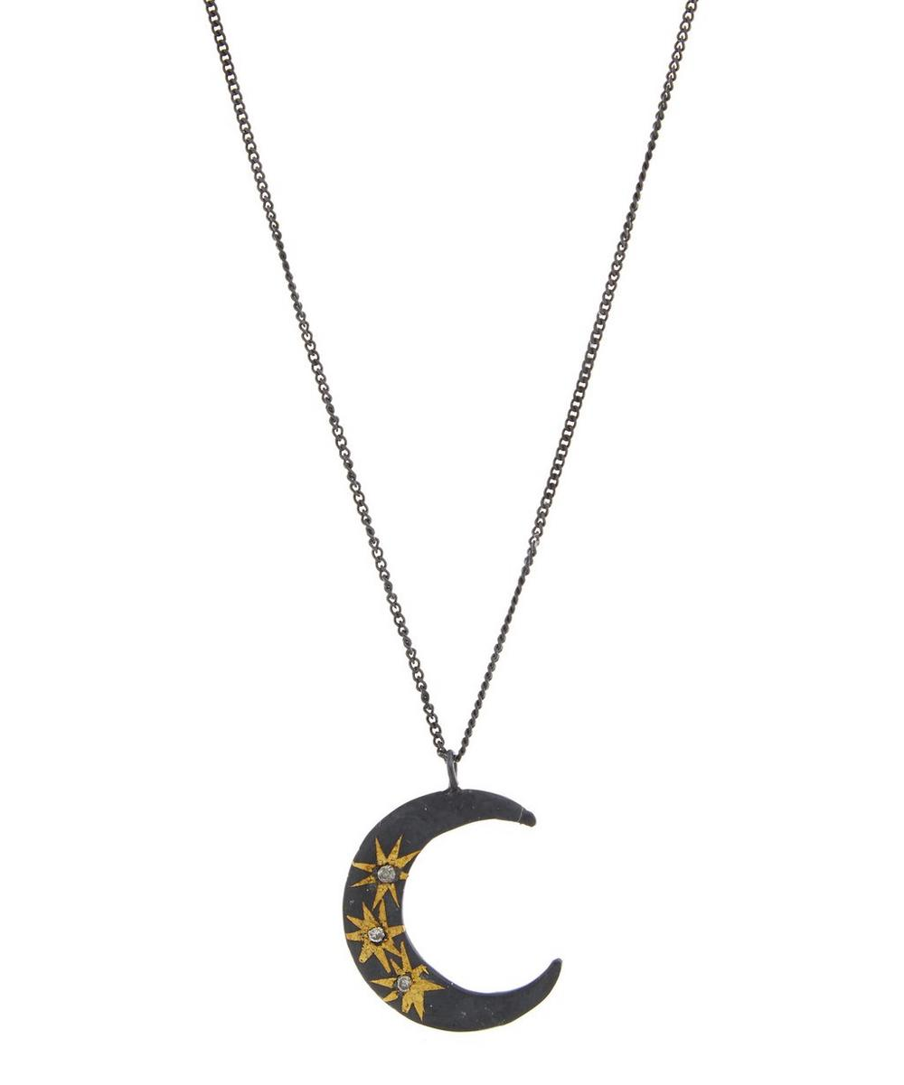 ACANTHUS Oxidised Silver Large Celestial Star Moon Diamond Necklace