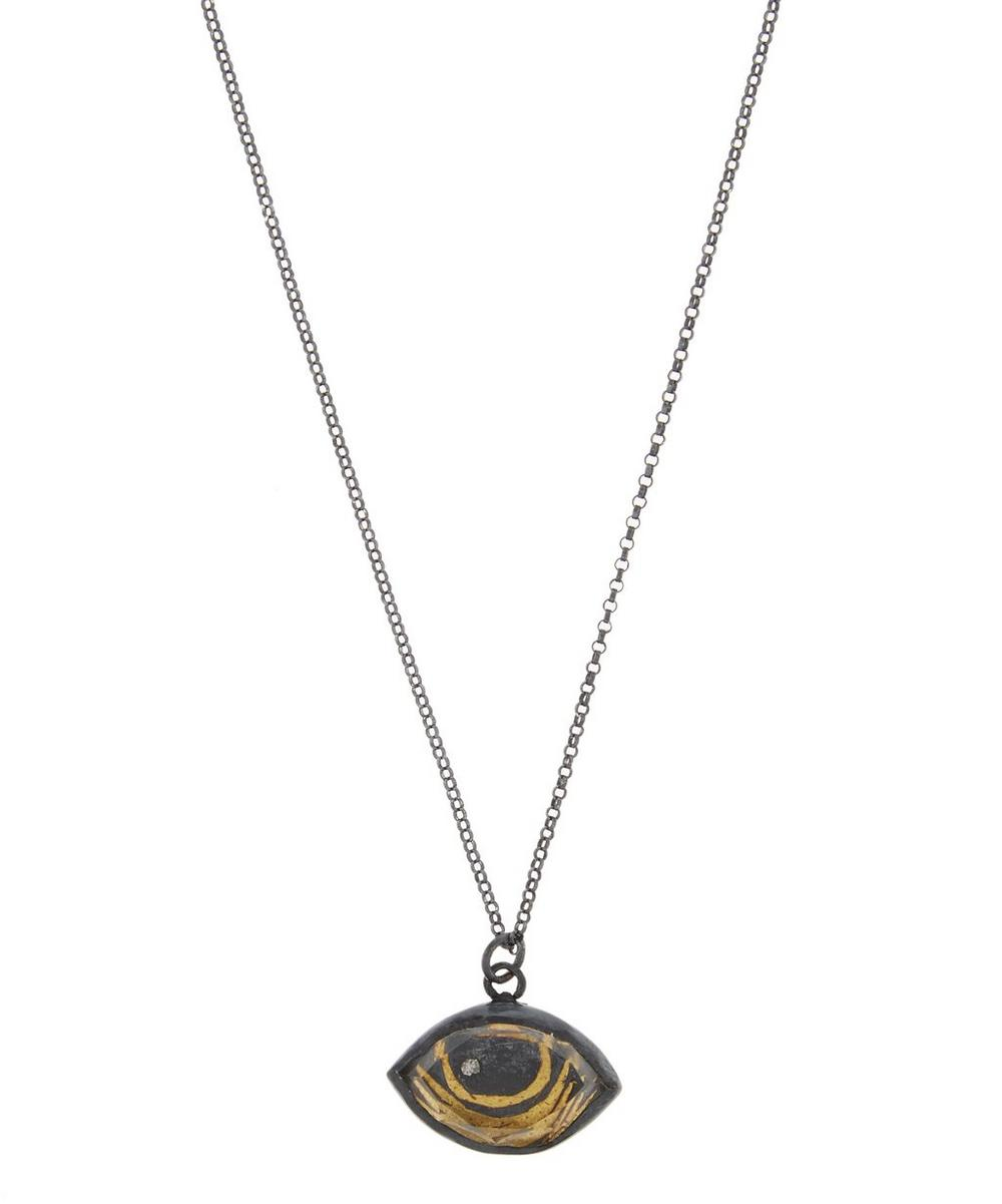 ACANTHUS Oxidised Silver Protective Eye Diamond Necklace