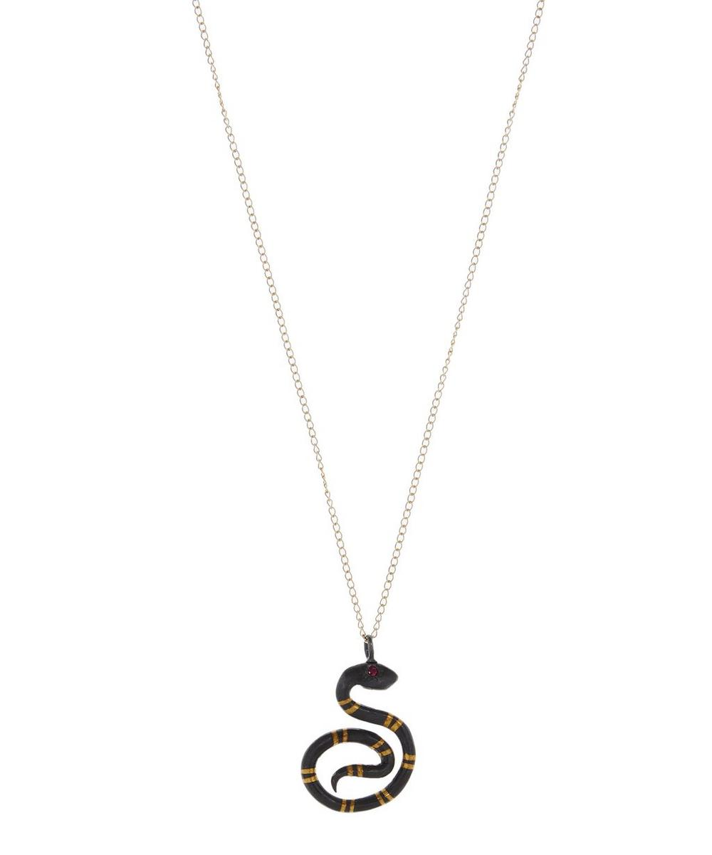 ACANTHUS Gold And Oxidised Silver Ruby Serpent Necklace