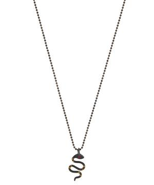 Oxidised Silver Tiny Ruby Snake Necklace