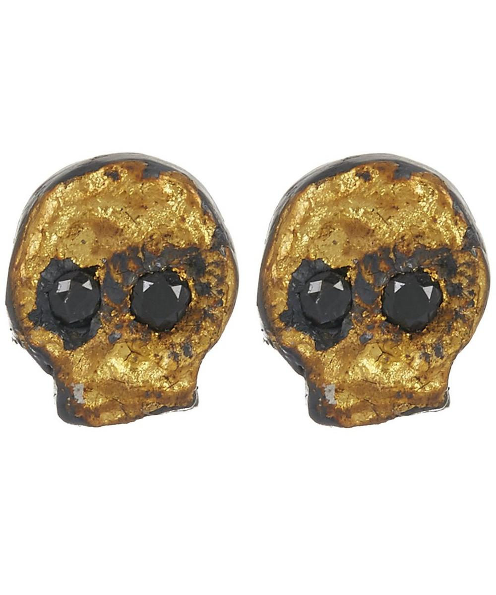 ACANTHUS Oxidised Silver Diamond Skull Stud Earrings
