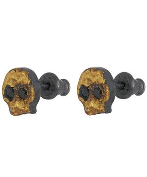 Oxidised Silver Diamond Skull Stud Earrings