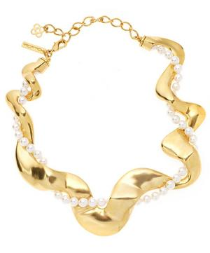 Gold-Tone Pearl Curve Necklace