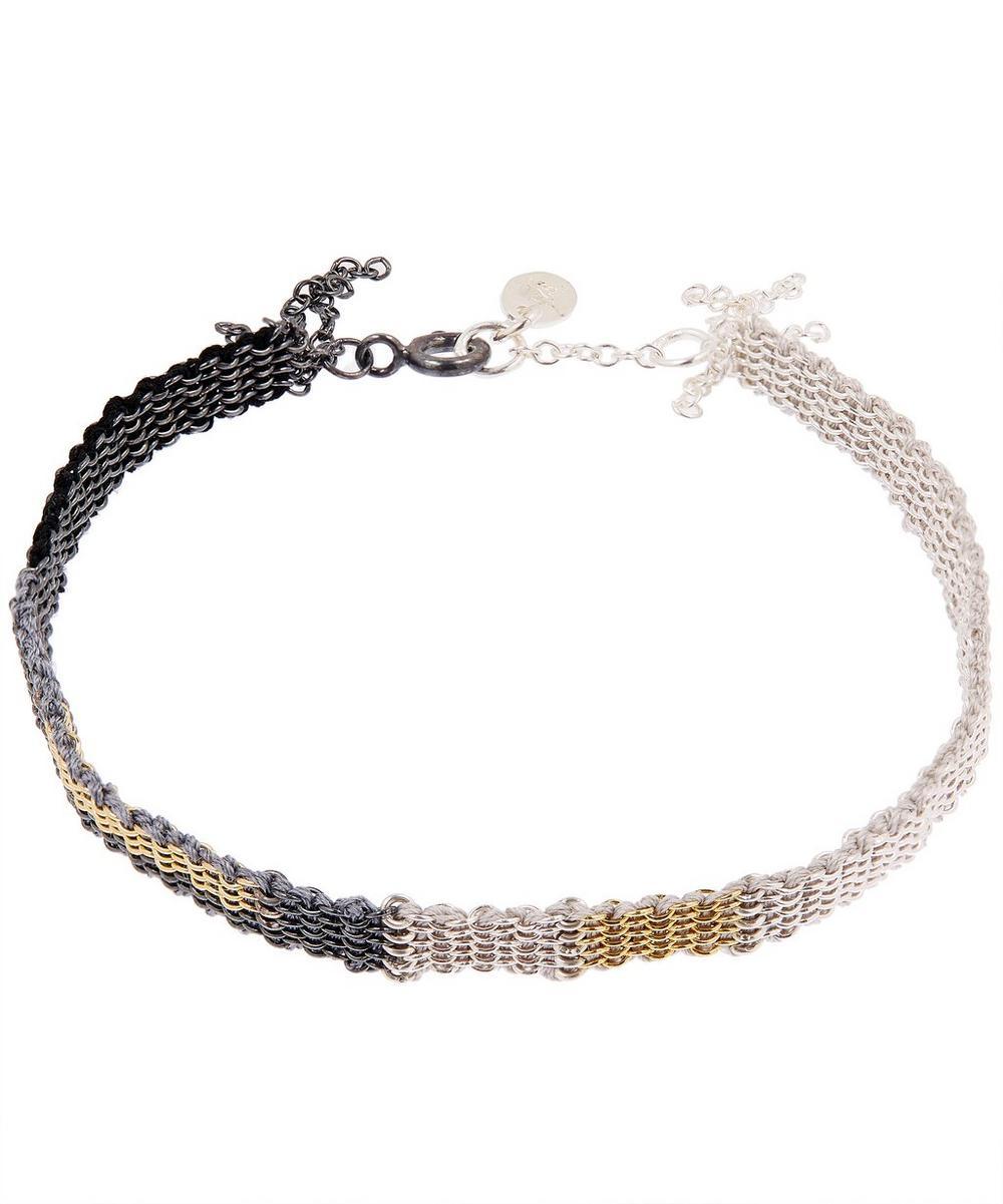STEPHANIE SCHNEIDER Silver Patchwork Silk Chain Bracelet