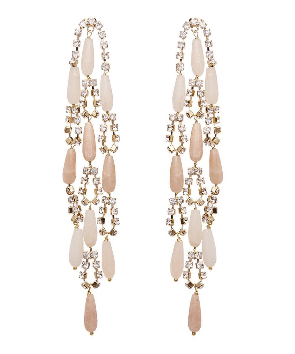 Gold-Tone Hollywood Pink Quartz Crystal Drop Earrings