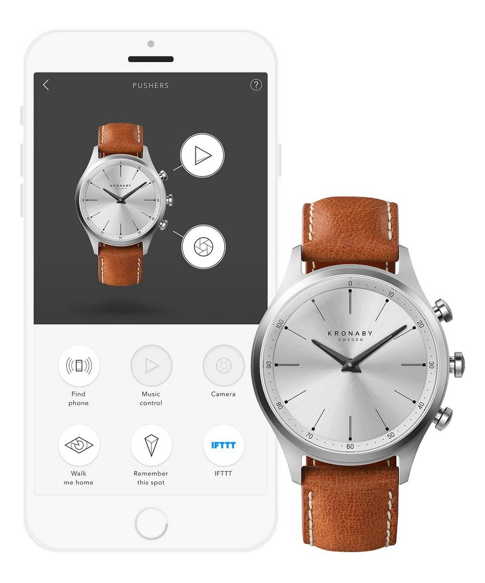 Sekel Brown Leather Strap Smart Watch