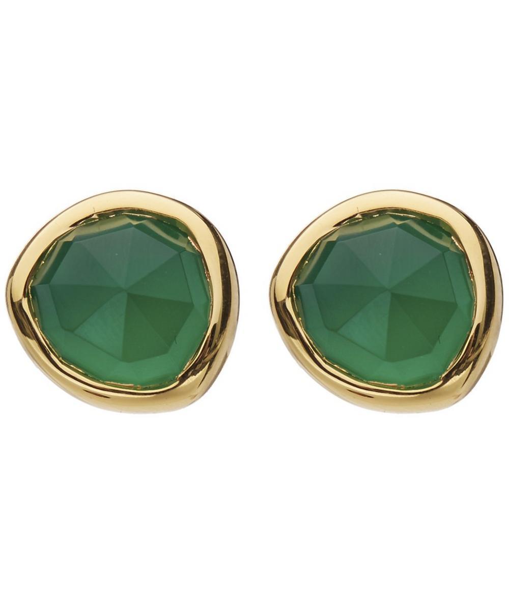 Gold Vermeil Green Onyx Siren Stud Earrings