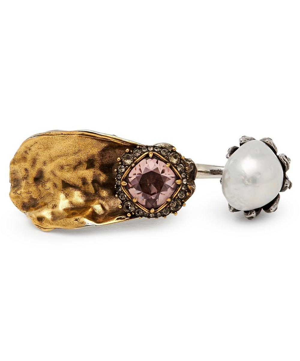 Silver-Tone Double Oyster Ring