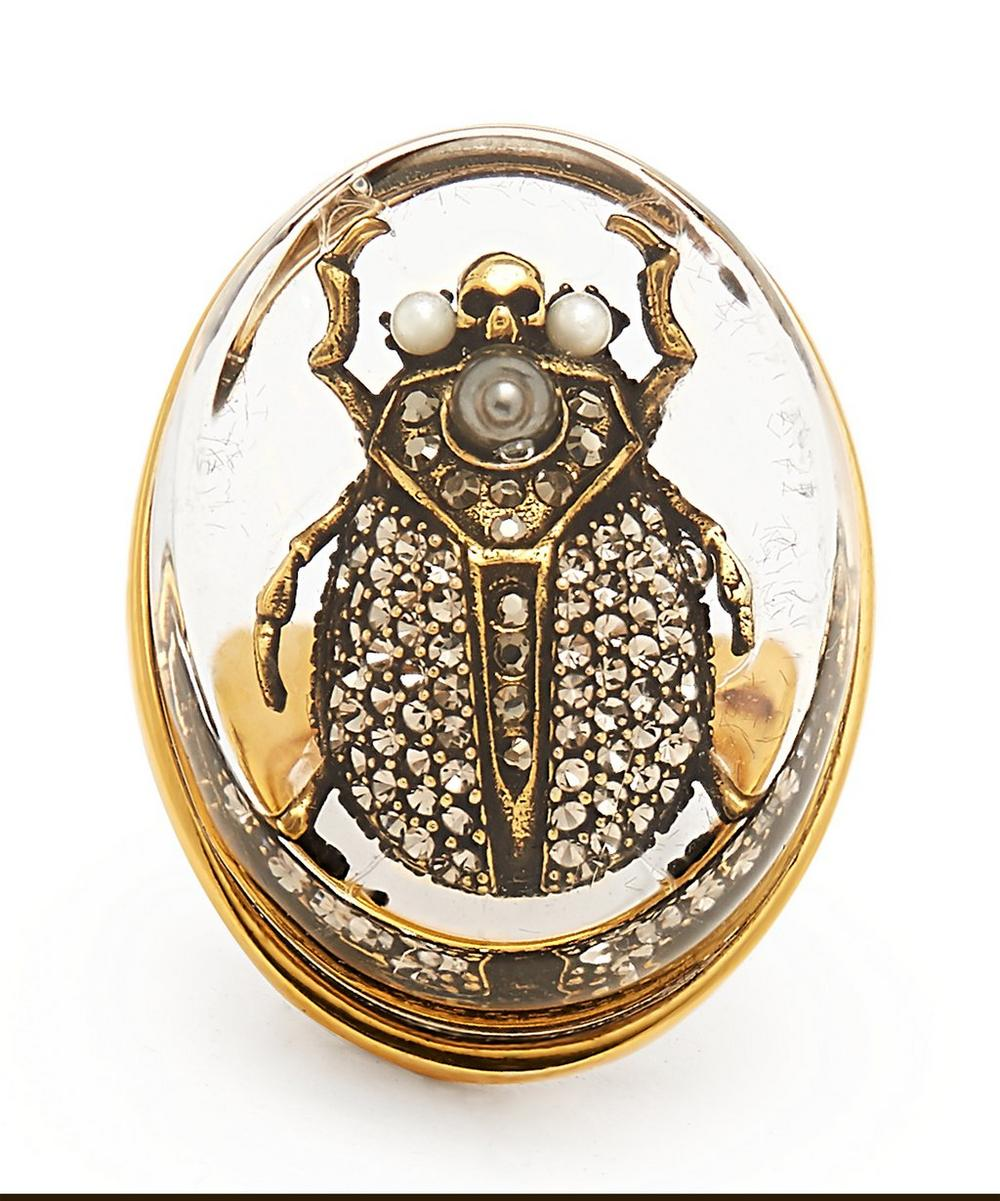 f279f019d Gold-Tone Crystal Beetle Ring | Liberty London