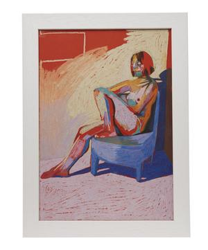 Hester Finch Nude on Orange with Blue Shadow Framed Numbered Print