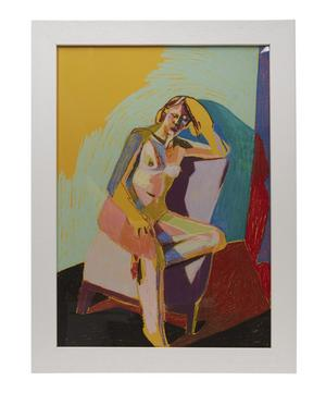 Hester Finch Nude on Yellow with Red Shadow Framed Numbered Print