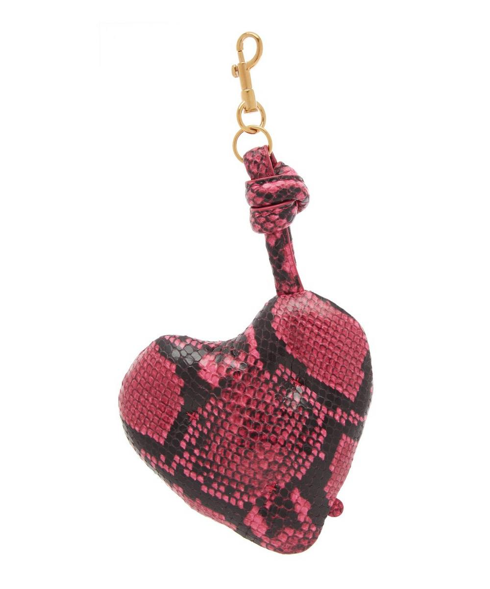 Python Print Leather Heart Charm