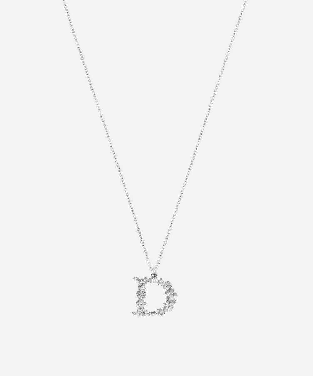 ALEX MONROE Silver Floral Letter D Alphabet Necklace