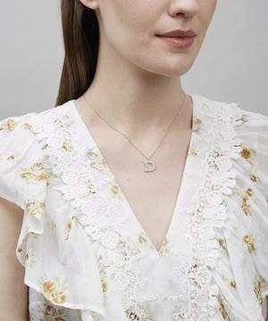 Silver Floral Letter D Alphabet Necklace