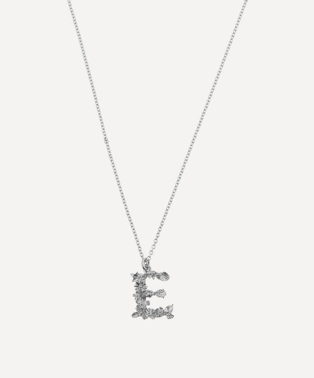 ALEX MONROE Silver Floral Letter E Alphabet Necklace