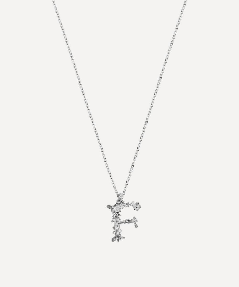 ALEX MONROE Silver Floral Letter F Alphabet Necklace
