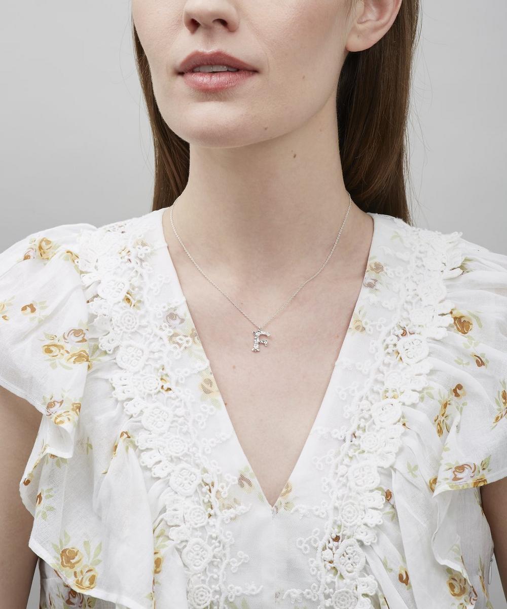 Silver Floral Letter F Alphabet Necklace