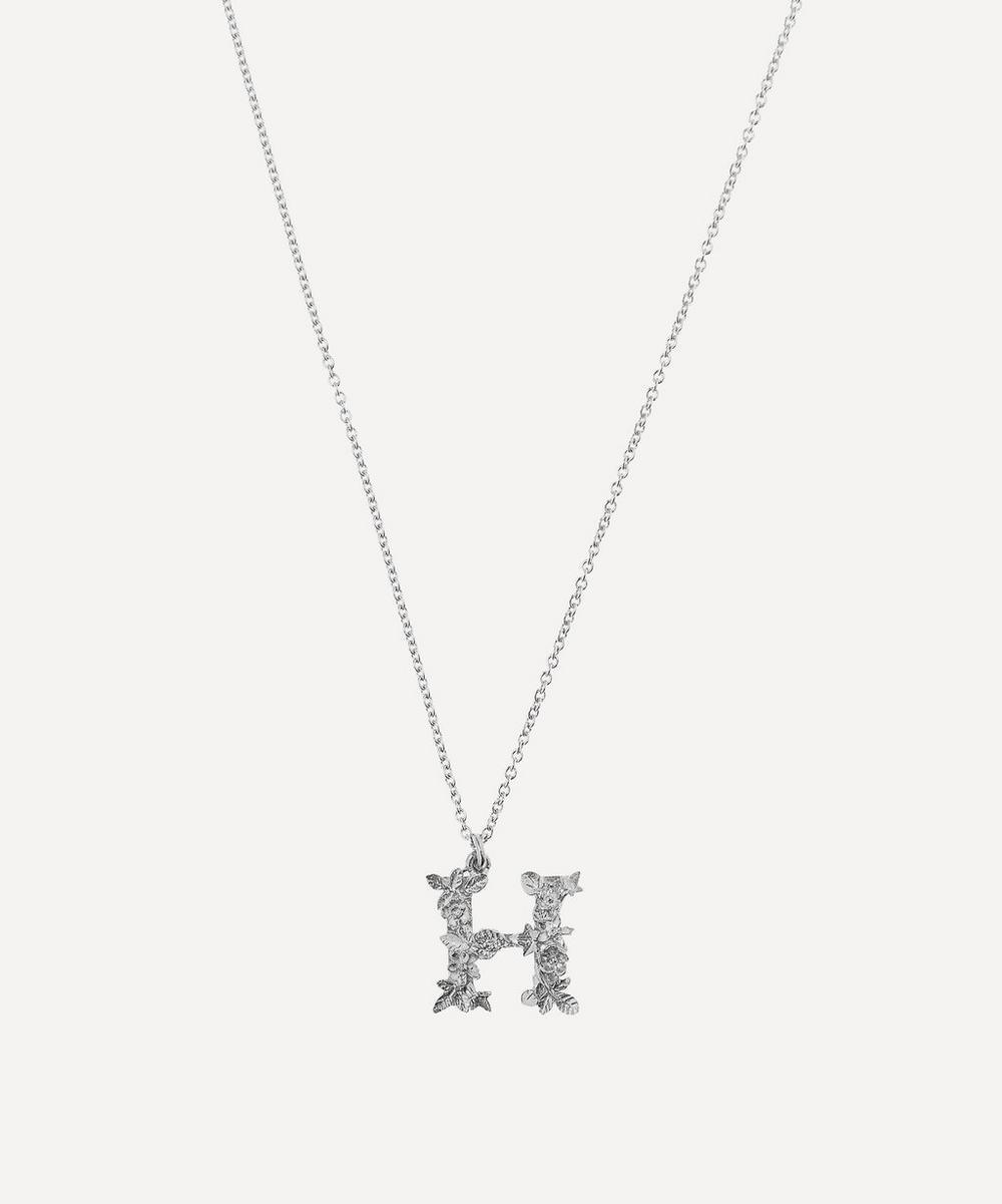 ALEX MONROE Silver Floral Letter H Alphabet Necklace