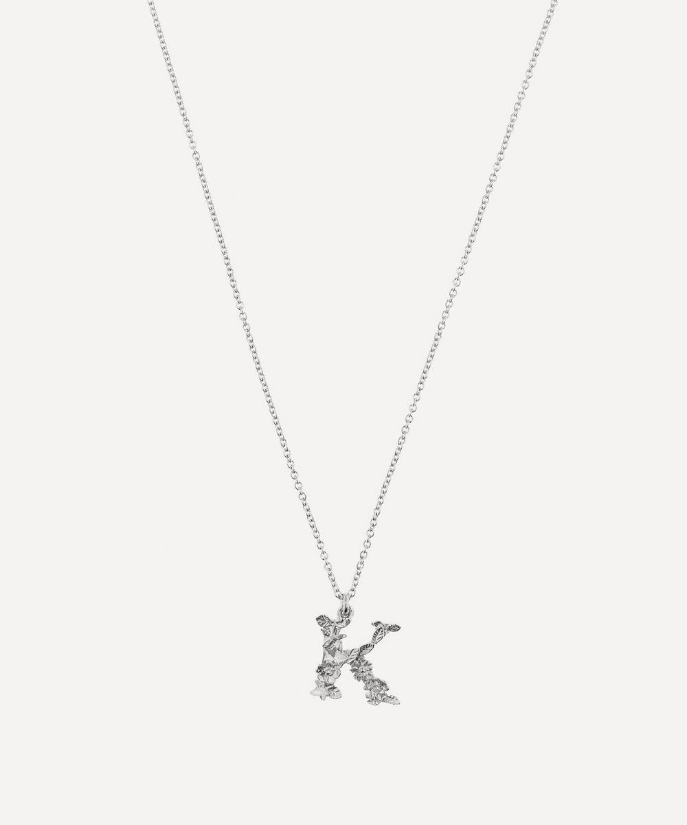 ALEX MONROE Silver Floral Letter K Alphabet Necklace
