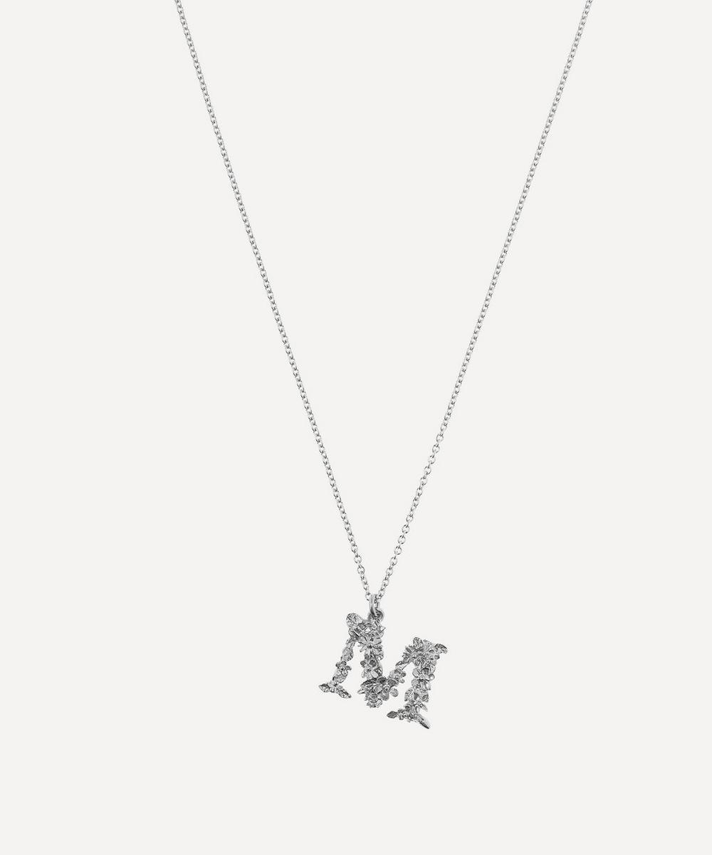 Alex Monroe - Silver Floral Letter M Alphabet Necklace