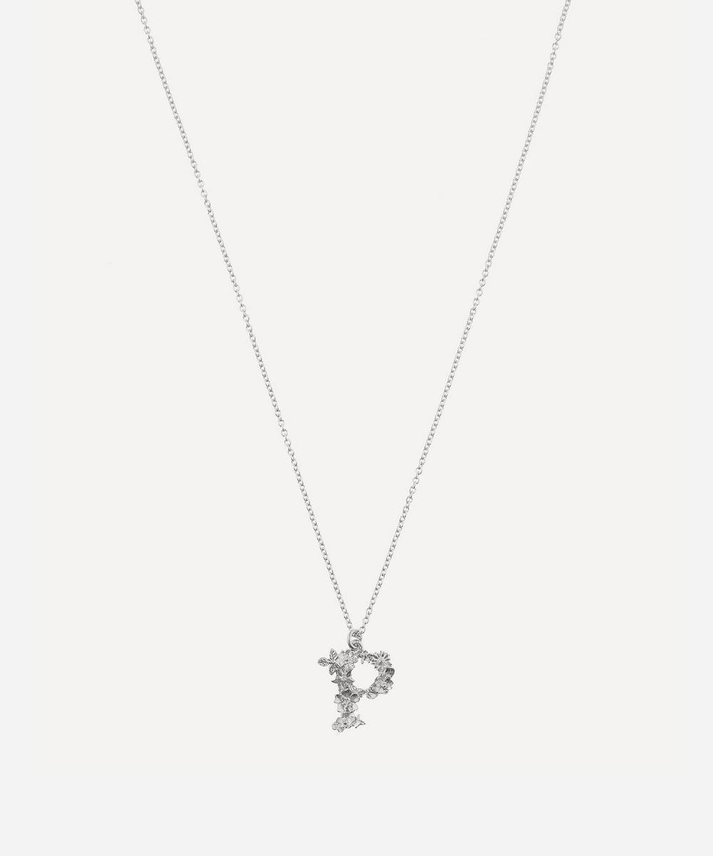 Silver Floral Letter P Alphabet Necklace