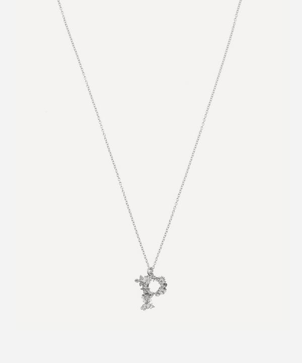 Alex Monroe - Silver Floral Letter P Alphabet Necklace