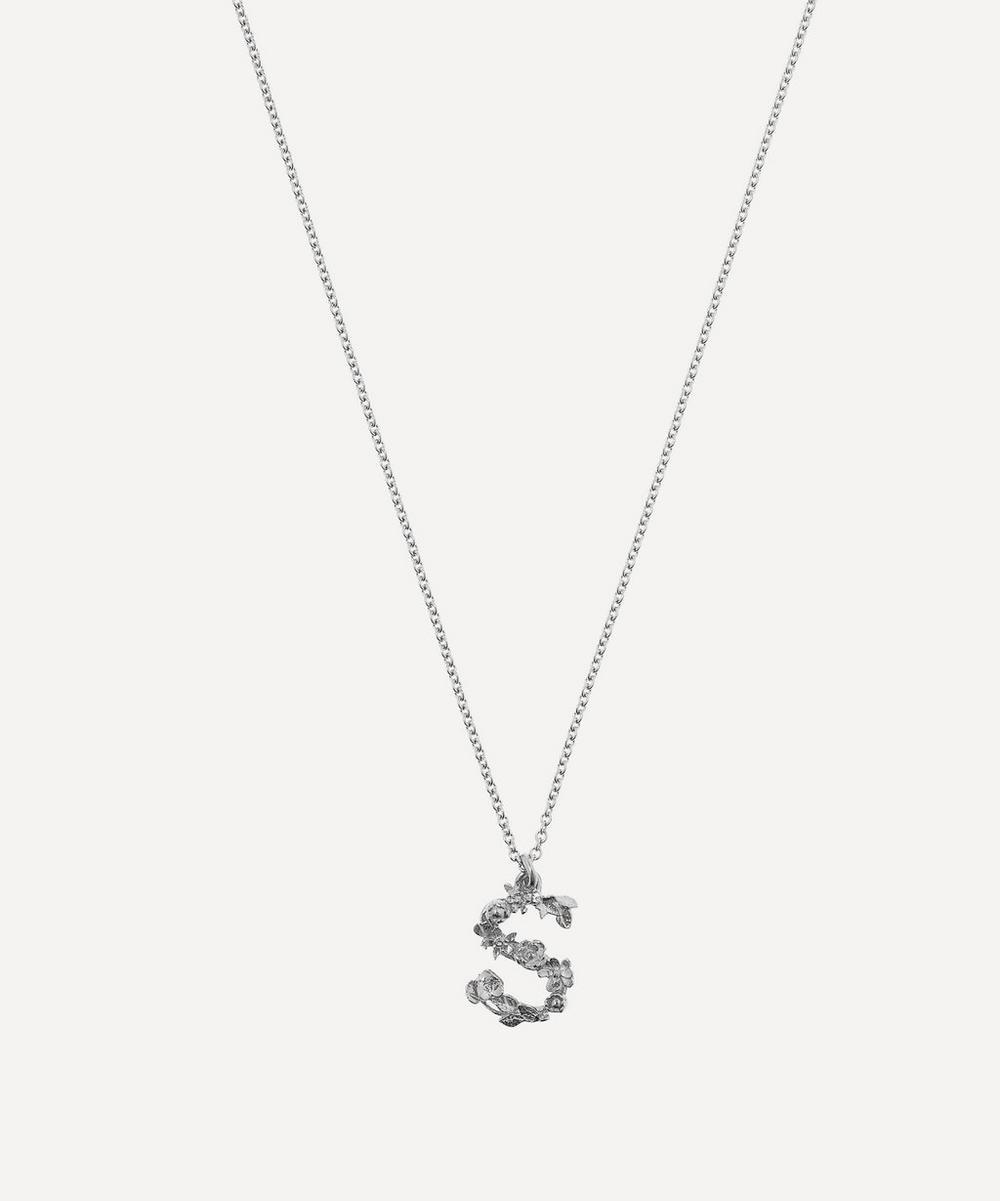 ALEX MONROE Silver Floral Letter S Alphabet Necklace