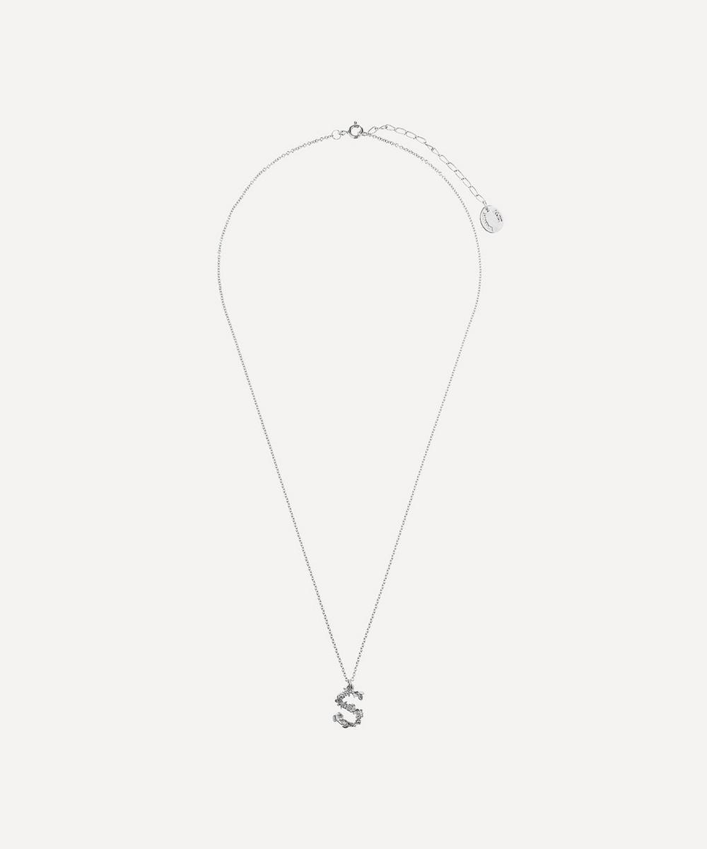 Silver Floral Letter S Alphabet Necklace
