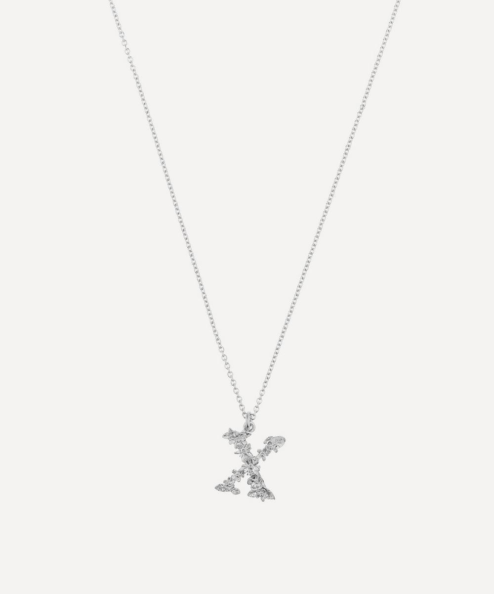 ALEX MONROE Silver Floral Letter X Alphabet Necklace