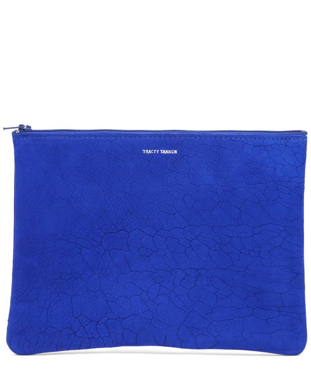 Large Cobalt Cracked Suede Pouch