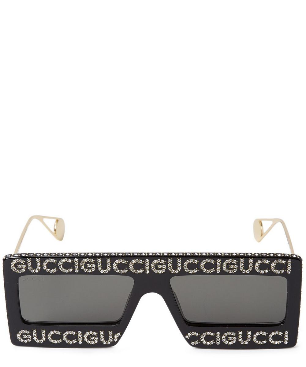 Gucci Black Crystal Mask-Frame Sunglasses in 02 Black from Liberty