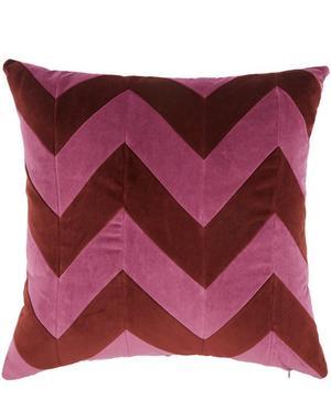 Zig Zag Cotton Velvet Square Cushion