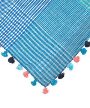 Tassel Check Silk-Blend Scarf