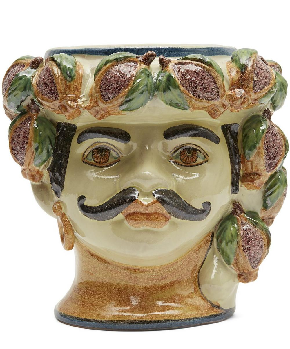 Medium Mans Head With Pomegranates Vase