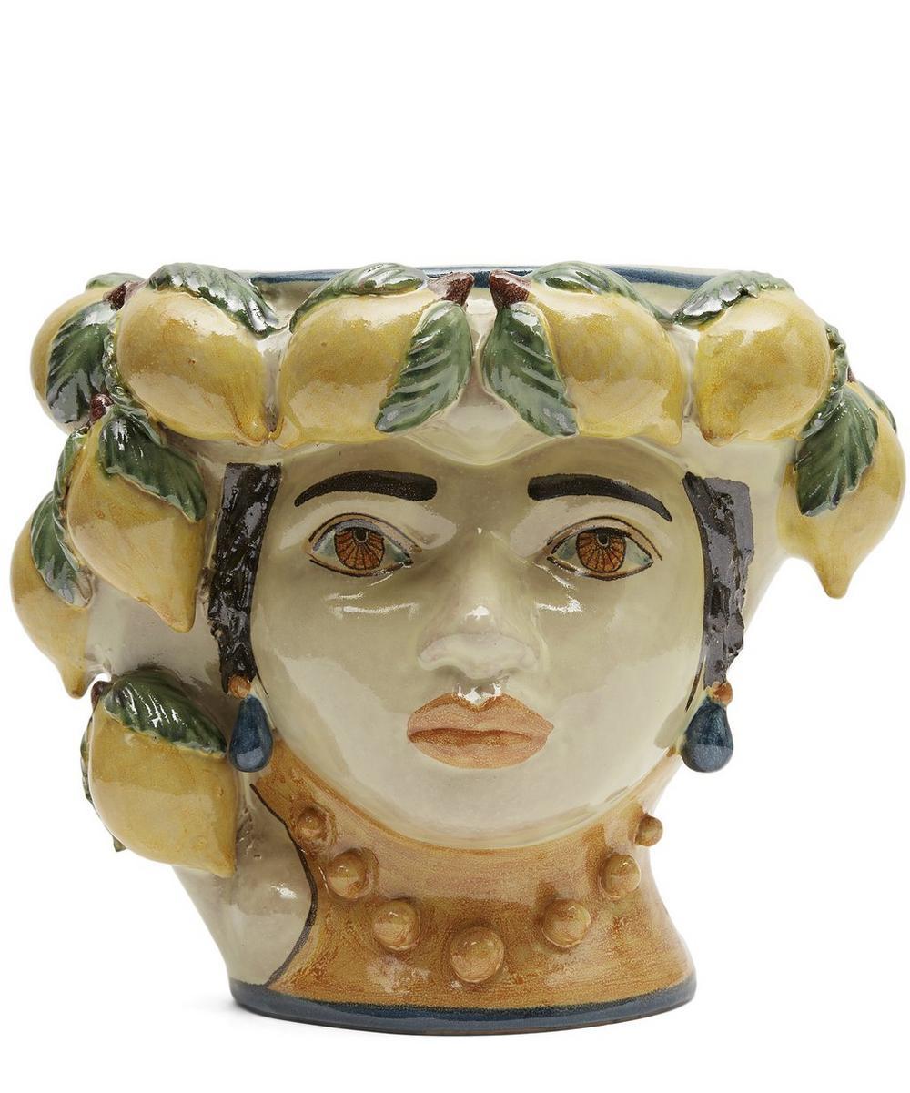 Medium Womans Head With Lemons Vase