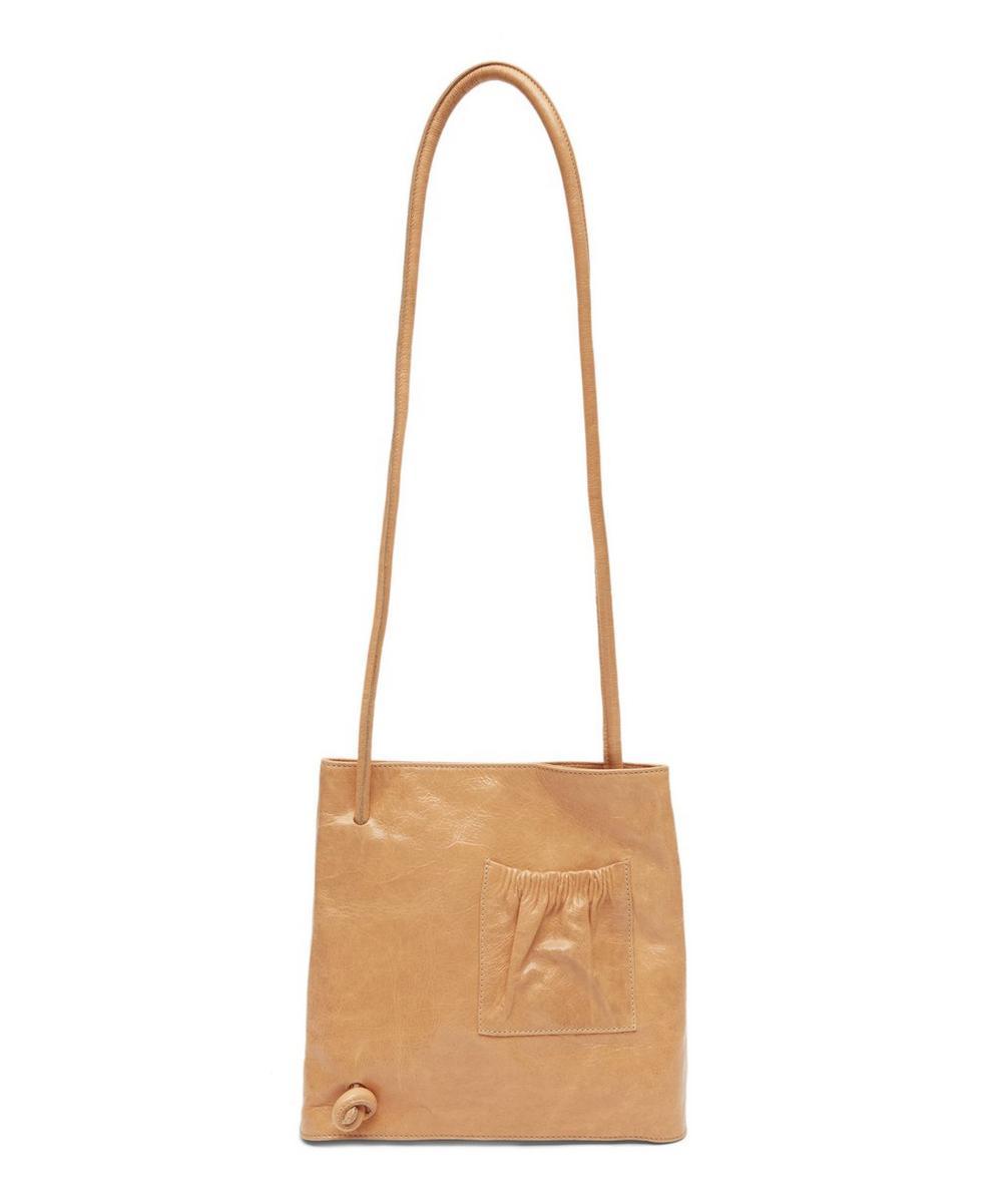 Leah Shiny Leather Pocket Shoulder Bag