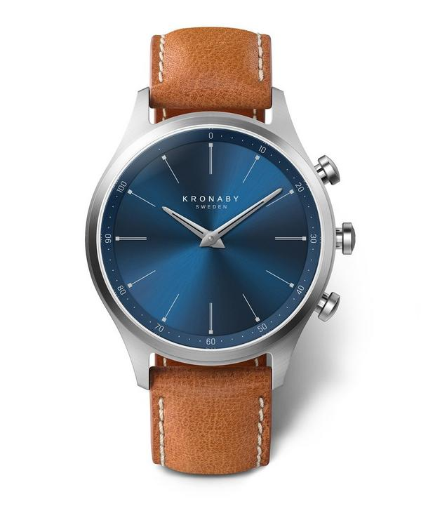 Sekel Sunray Blue Dial Tan Strap Smart Watch