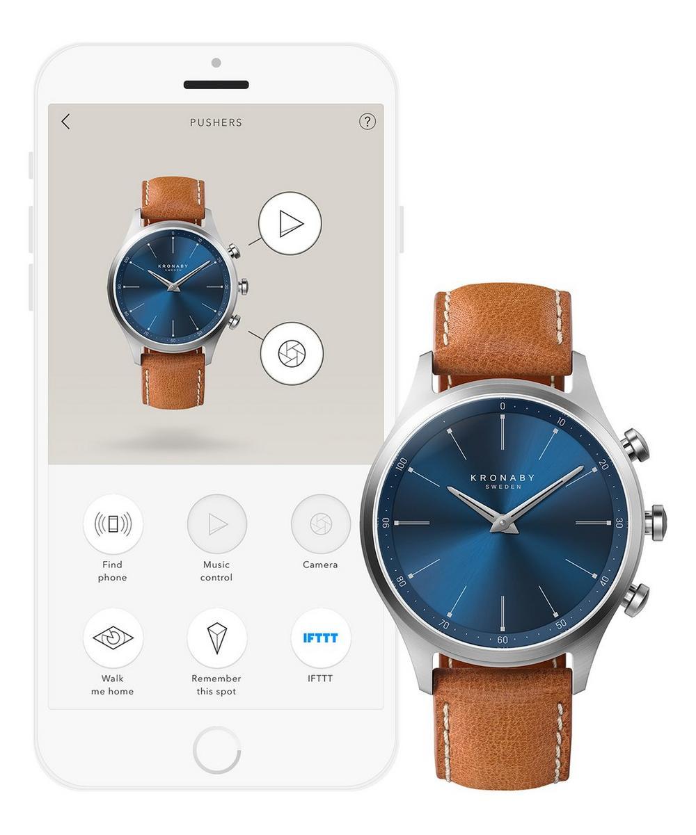 Sekel Sunray Blue Dial Tan Strap Smart Watch