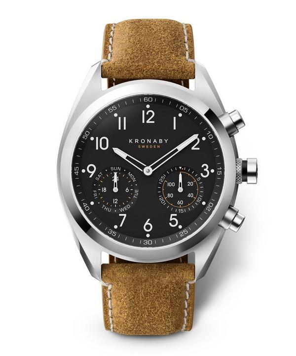 Apex Matt Leather Strap Hybrid Smart Watch