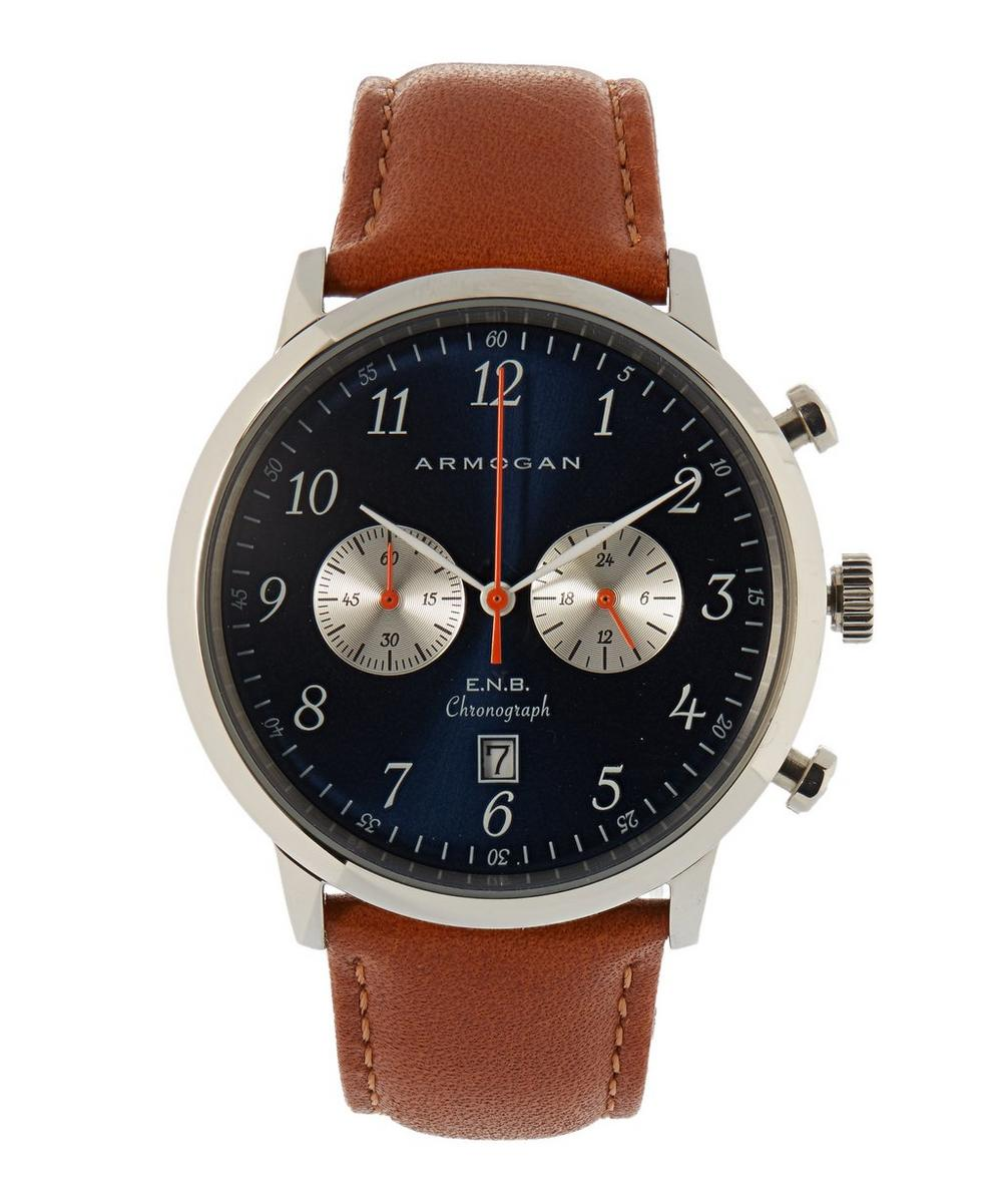 ARMOGAN S42 Brown Leather Strap Watch in Blue